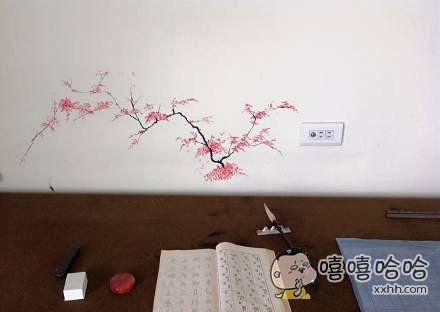 网友在书房帮爸爸磨墨,不小心溅了几滴到墙上,于是添了几笔遮盖了一下