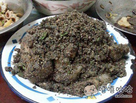 室友做的黑暗料理:黑芝麻糊炒五花肉!