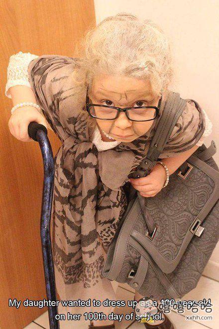 上学的第100天,我闺女坚持要扮成100岁的样子,好了好了,知道你度日如年的心情了