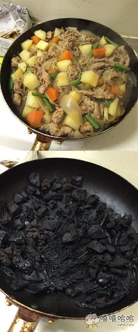 一小哥炖了一锅土豆肉犒劳自己,结果只是稍稍离开了厨房一会,回来再一看……