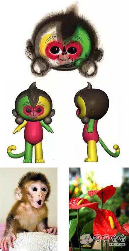 """我仔细研究了一下,春晚吉祥物原来是""""恍恍惚惚恒河猴""""+""""红红火火火鹤花""""的合体,照应了春晚""""欢乐祥和""""的一贯主题!"""