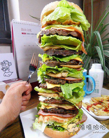妈妈说一天只准吃一个汉堡