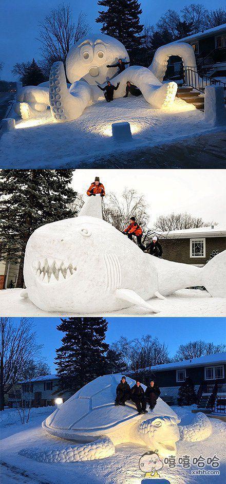 下雪了,又一波神奇的雪人诞生了