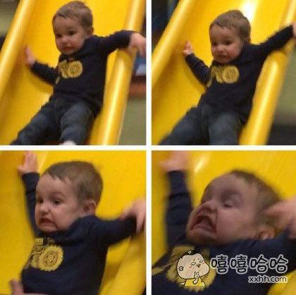 小盆友第一次玩滑梯。。。