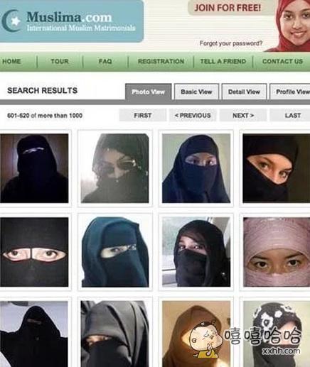 阿拉伯地区的婚恋交友网站,这要能选出来还真的是一见钟情呢。。。
