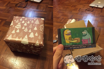 """国外一位网友的妹妹送他的新年礼物。""""今年我没有足够的钱买一份礼物,所以你得到了这个盒子。"""""""