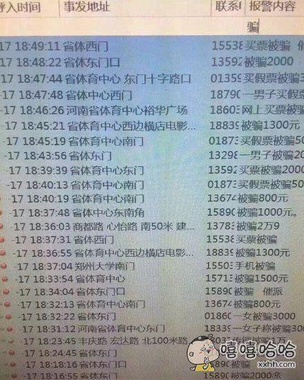 昨晚Bigbang郑州演唱会,郑州110的接警记录