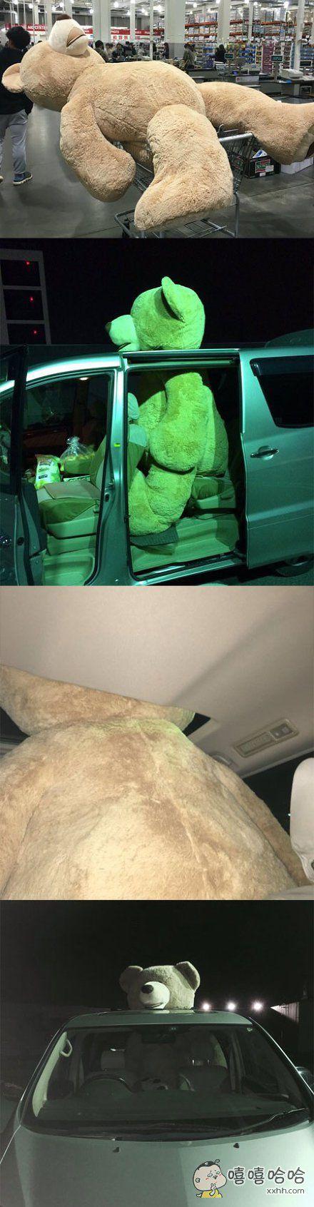 岛国一小哥脑子发热买下了一只超大泰迪熊,然而自己的车子太小塞不下,于是采取了这种搬运方式。。。感觉路人的心灵都受到了洗礼