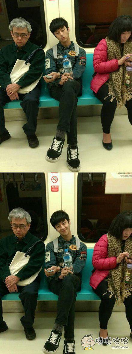 女网友坐地铁时,觉得坐在对面的小哥有点帅,就拿出手机偷拍,结果发现照的不太好,于是准备再拍一张,然后就被发现了…