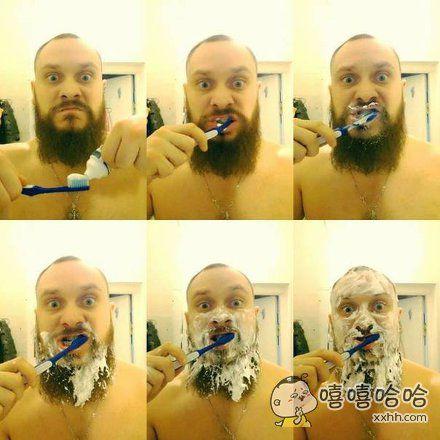 纯爷们儿如何狂野地刷牙。