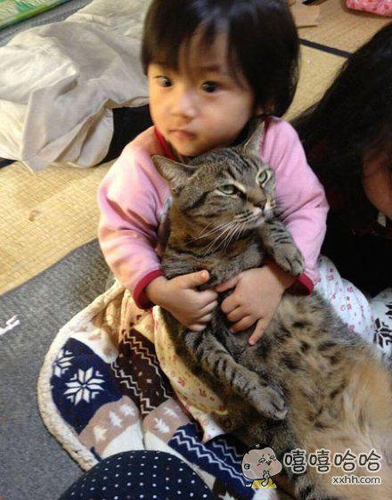 网友说这是他家猫咪放弃在自家孩子手下挣扎的瞬间,眼、眼神……死掉了啊!