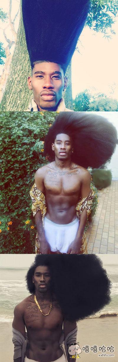 这位名叫Benny Harlem的男子拥有一头十分美丽炸人的头发,哈哈哈哈看起来好魔性,圆柱圆锥发型统统hold住