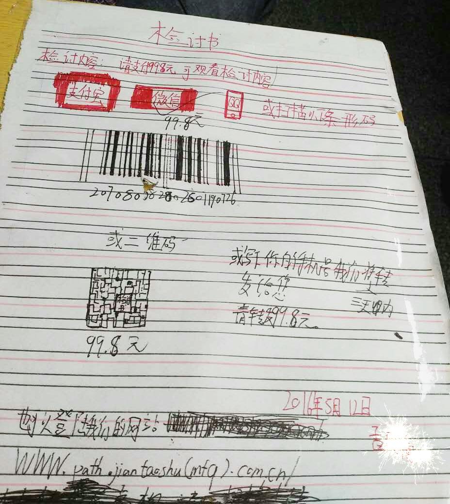 中国最新最火检讨书范文~