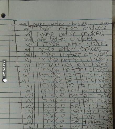 """小朋友Bill做错了事。老师罚他抄写20遍""""我以后做事会三思而后行""""。。。下图为Bill被罚抄的作业本"""