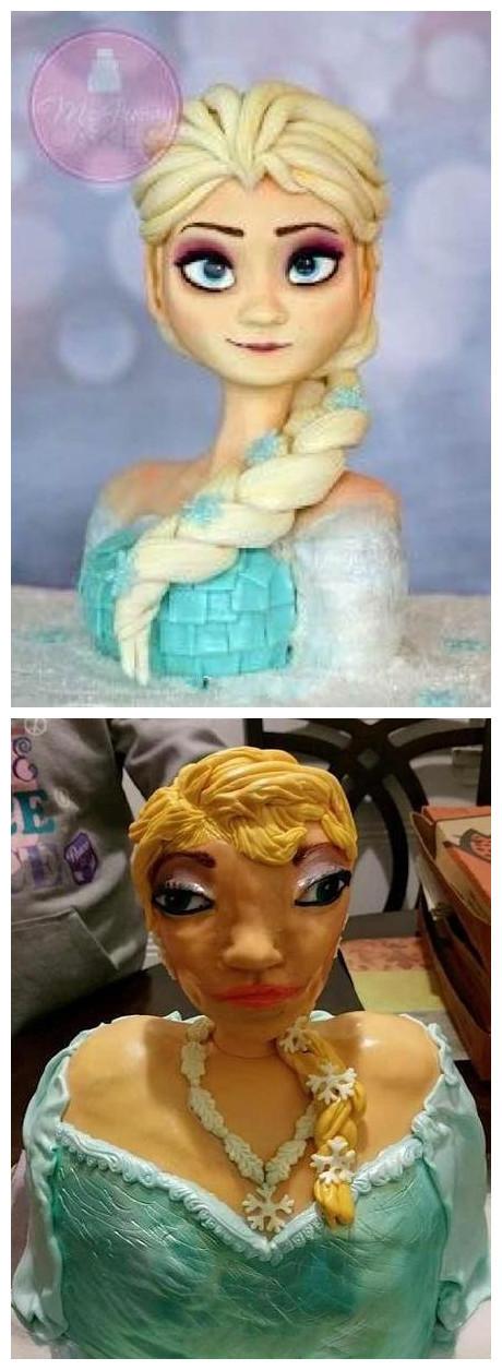 国外一网友在网上买了个迪士尼公主的蛋糕,然后收到的的时候。。。