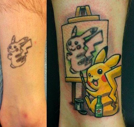 一哥们被前一个纹身师坑到了。。。 幸好,后一个纹身师补救的简直完美!