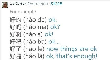 一位外国妹子的学习总结。在中文中,句末的语气助词就是这段话的表情包。