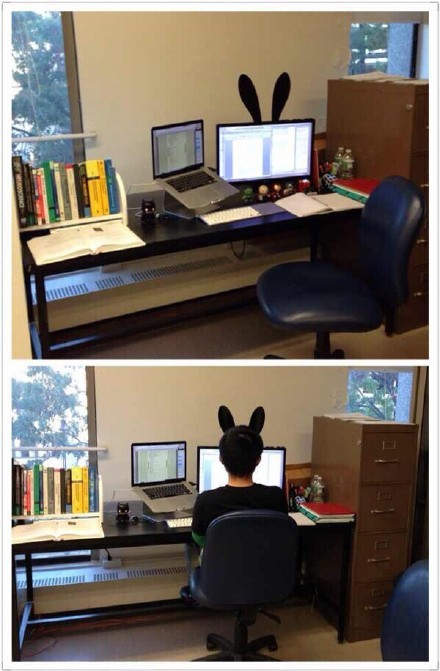 一妹子为男朋友准备的兔耳朵,工作时候也不忘卖萌