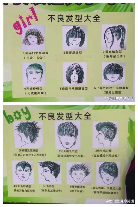 某学校的不良发型公告栏,来看看你属于哪一型!