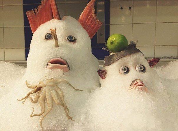 超市海鲜部大妈又调皮了。。。