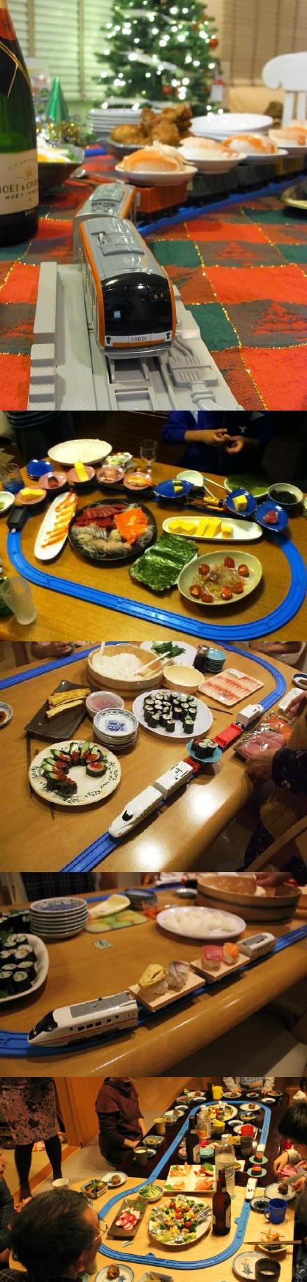 """某网友分享了如何在家里吃回转寿司的方法,简直太""""高大上""""了哈哈哈哈哈(๑•̀ㅂ•́)و✧"""