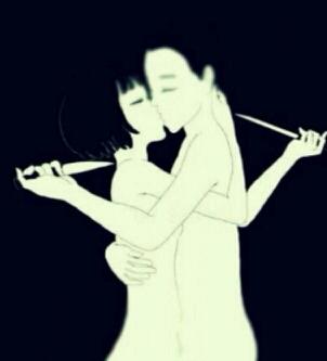 这幅图叫谁先离开谁就死    看到最后  我发现图上的女人用手挡在了刀的前面。。