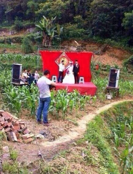 新娘要求新郎婚礼仪式要在户外,简约,复古乡村田园气息,不要假花枯草~希望参与的宾客有一种穿越时代陈杂的赶脚~花费精简……于是……嗯!!!