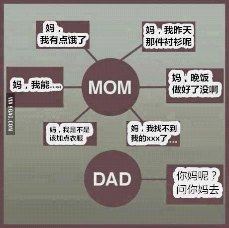 日常生活中老爸老妈功能属性对比