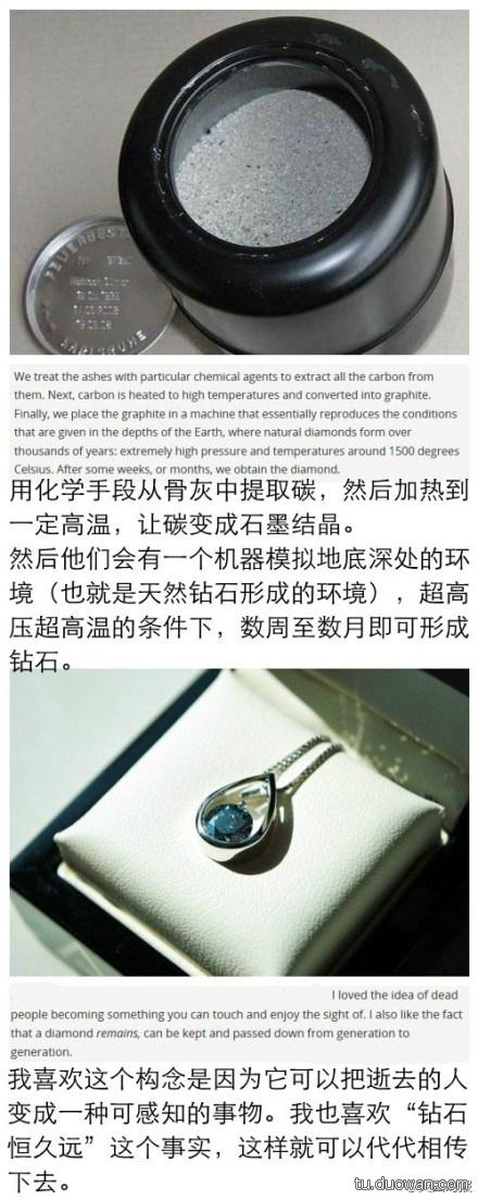 瑞士一家公司可以把人的骨灰打造成钻石,起价5000美元
