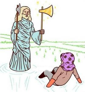 盲人大叔发现只要走路时拿着两把斧头就不会担心撞到人了。