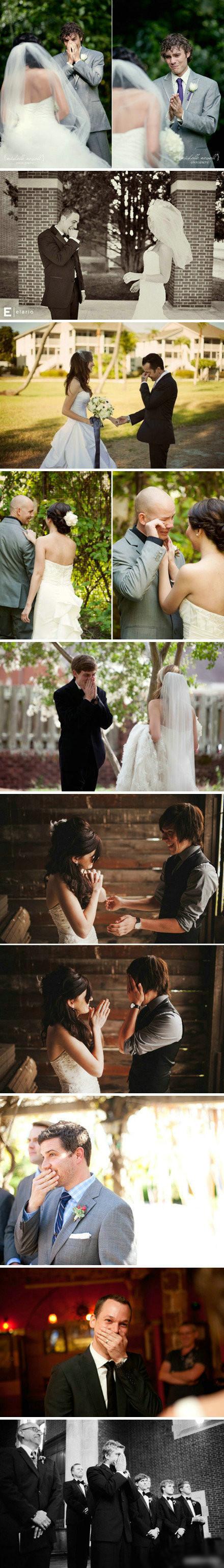 新郎看到新娘穿着婚纱的瞬间。