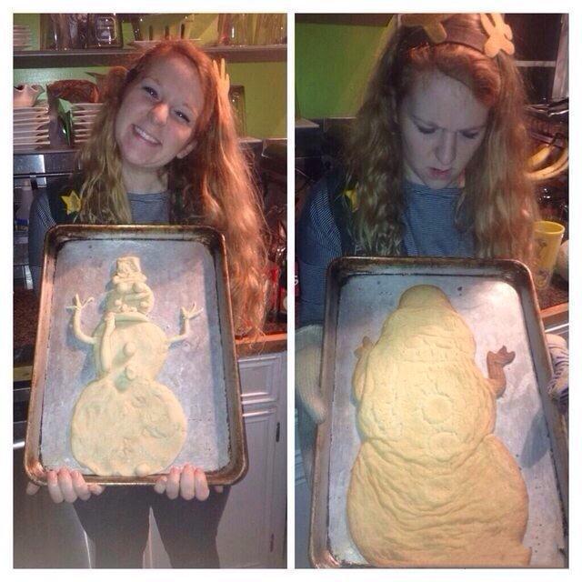 圣诞节到了。。有个妹纸想烤个雪人蛋糕。。。烤出来后。。她哭了。。哈哈哈哈哈。。。