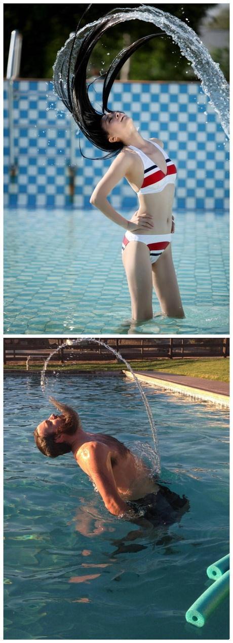 男生如何在泳池制造飘逸动感的效果~~~