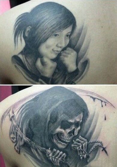 一哥们,把自己女友纹在背上。分手后。。。。