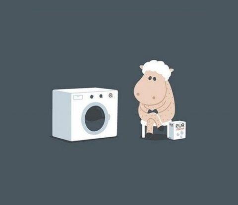 坐着等洗衣机洗毛衣出来