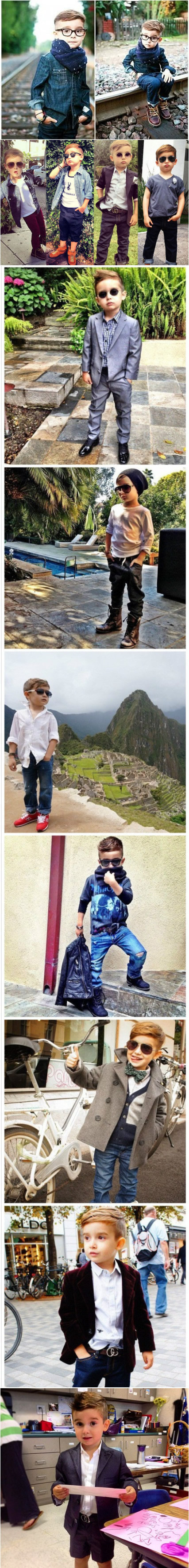 """这位名叫Alonso Mateo的小男孩来自美国加州,他因有型有款的穿搭而光速走红。可能是受设计师妈妈的影响,这个年仅5岁的小小只时尚达人可以轻松驾驭各种套装,他的个性style成功地鼓舞了众多赶时髦的""""老""""男人。「转」PS:长大了又是一枚妖孽!!!"""
