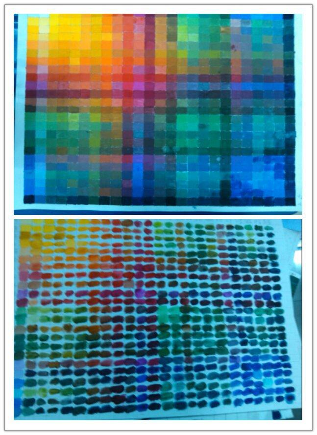 上图是画笔画了两三天的色相表, 下图,是手指画了两小时的色相表…… 手指画的…… 指画的…… 画的…… 的……