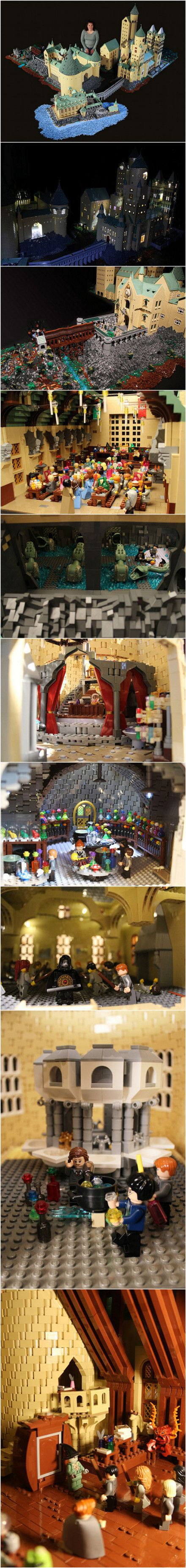 Alice Finch有两个热爱《哈利·波特》的儿子,她花了一年时间,用40万块乐高积木搭建了一座和原著中一模一样的霍格沃茨城堡。城堡里的设置不仅尊重了原著的细节,甚至还包括了电影场景,从邓布利多的办公室到密室,完完全全地还原了这个魔法学校的原貌。