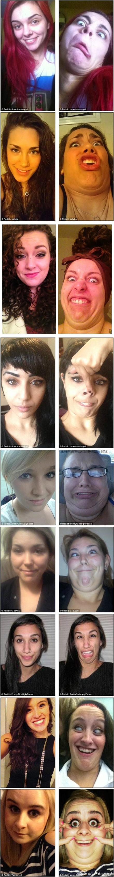 【Reddit上热门活动之一:漂亮姑娘做鬼脸】这是最近Reddit上的一个热门活动,就是妹纸们自己发一张自己正常的照片,然后发一张鬼脸照片,以最惨不忍睹最佳。于是,美帝的姑娘们拼了。。。(转)