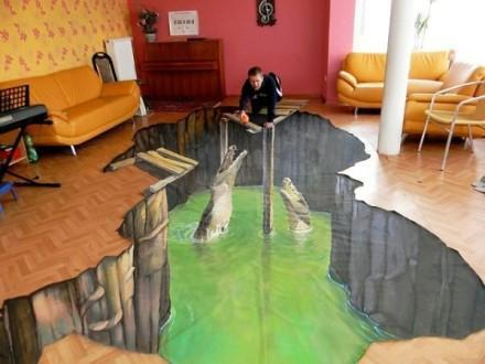 【在家搞3D艺术 】一进门看到这样吓人的3D涂鸦客厅,当时腿就软了好不好~~