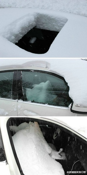 下雪了,下大了,下完才想起来,哎妈呀,天窗忘记关了……