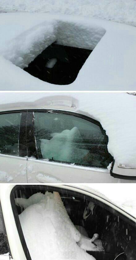 下雪了,下完才想起来,哎妈呀,天窗忘记关了……