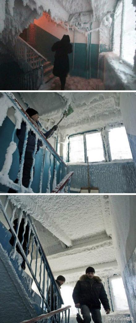 这是一位哈萨克网友上传他家公寓的照片,据他所说,外面气温已经维持在-59度好几天了.....打开冷冻库把自己关进去都没这里冷吧