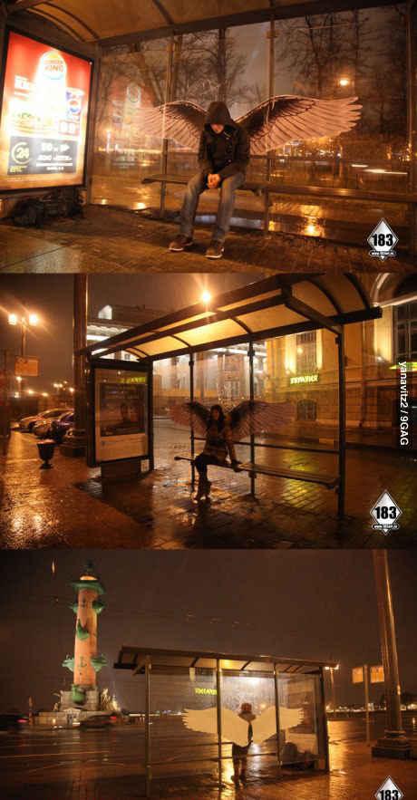 天使公交站!这辈子在深夜等公交的上辈子都是折翼的天使?
