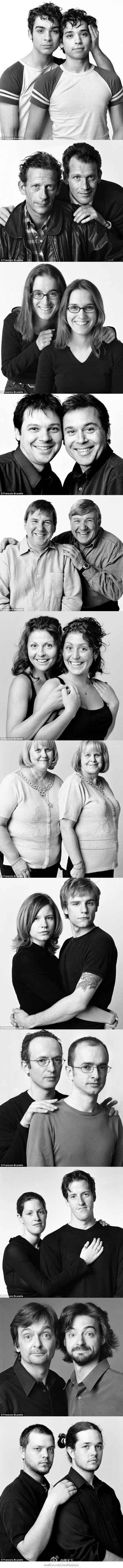 【孪生照?非也!】下面这些照片,每一张上的两个人都很像,但如果你以为他们是双胞胎,那就错了。他们不但没有血缘关系,而且互不相识。照片拍摄者是来自加拿大的摄影师布鲁内尔,1968年开始摄影以来,他就注意研究人脸,现在他正进行一项别致的摄影活动,对象就是这些相貌相似的陌生人。