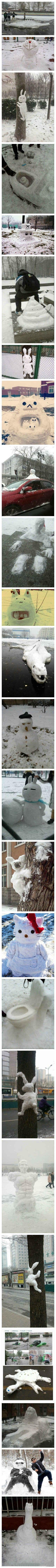 下雪后,人人都是艺术家~!!哈哈哈。。。