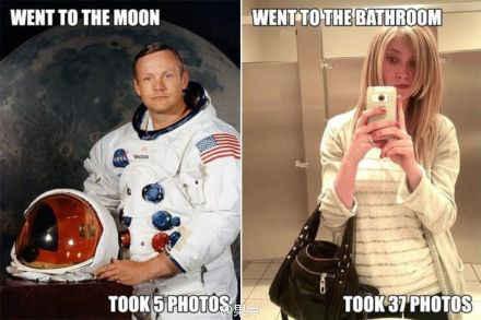 有的人去一次月球只拍五张照片,有的人去一趟厕所要拍三十几张照片。~