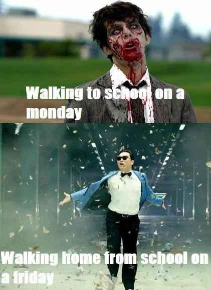 周一上学路上就像《行屍走肉》 周五放学路上则是。。。