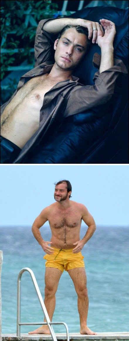 """今日面孔!今天最""""惨烈""""的照片,莫过于下图:当地时间10月14日,40岁的英伦男星裘德·洛与友人现身法国洛佩斯,身穿黄色短裤出现在泳池边。上图是曾经的他。"""