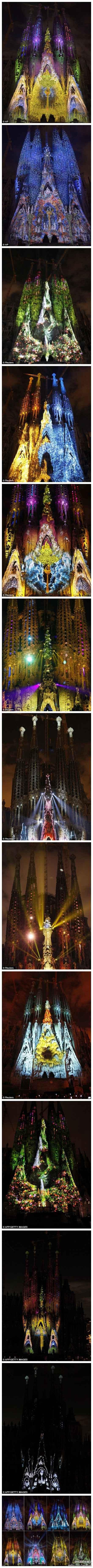 当巴塞罗那圣家堂遇上彩色投影灯。。。。。整个场景奇幻到爆了!!!